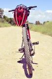 Mountain bike and helmet Stock Photo
