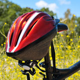 Mountain bike and helmet Royalty Free Stock Images