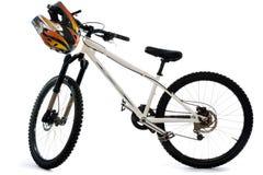 Mountain bike and helmet for extreme riding Stock Photos