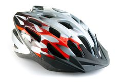 Mountain bike helmet, isolated on white background Royalty Free Stock Photos