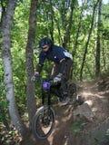 Mountain bike jump 14. Racing mountain bike zooming past 14 Stock Photo