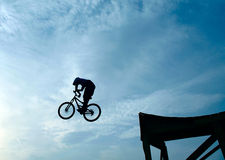 Mountain bike jumper. Extreme mountain bike jumper in big jump Royalty Free Stock Images