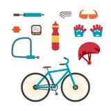 Mountain bike kit. Set riding bikes isolated on white background Stock Photos