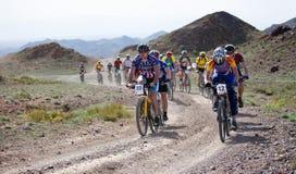 Mountain bike marathon in desert Stock Image