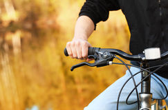 Mountain bike. Men seat. Active leisure Royalty Free Stock Photos