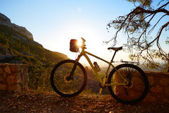 Mountain bike MTB sunset in Denia at Montgo Royalty Free Stock Photo