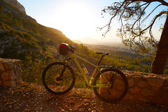 Mountain bike MTB sunset in Denia at Montgo Royalty Free Stock Images