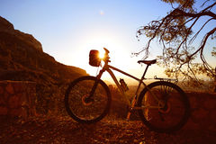 Mountain bike MTB sunset in Denia at Montgo Royalty Free Stock Image