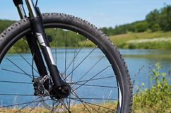 Mountain bike on nature background. Royalty Free Stock Images