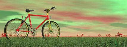 Mountain bike in nature - 3D render Stock Photo