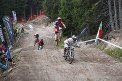 Mountain bike, Pamporovo, Bulgária, competição do campeonato do mundo Fotografia de Stock