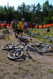 Mountain Bike Racers. Blind Stoker mountain bike competitors racing in Marquette, MI Stock Photography