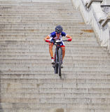 Mountain bike races  - down stairs in city Ruzom berok, Slovakia Royalty Free Stock Images
