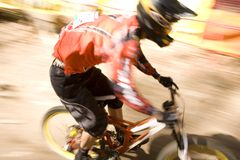 Mountain Bike Rider. The blur as a mountain bike rider speeds by Royalty Free Stock Photography