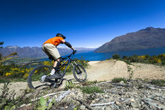 Mountain bike rider on bike path in Queenstown Stock Images