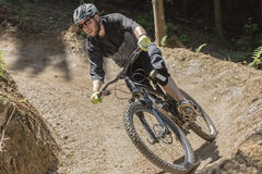 Mountain bike rider gravity slope front Royalty Free Stock Photography