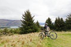 Mountain bike rider at Lake Wanaka Stock Image