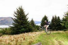 Mountain bike rider at Lake Wanaka royalty free stock images