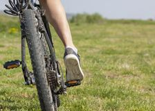 Mountain bike rider on a off road track Royalty Free Stock Photos