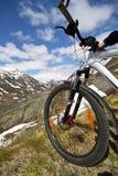 Mountain bike rider view Stock Photography
