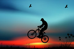 Mountain bike. Rider in wild mountain nature Royalty Free Stock Images