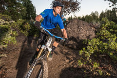 Mountain Bike Riders On The Deschutes River Trail Stock Image