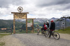 Free Mountain Bike Riders Getting Ready In Mottolino Bikepark On 3 August 2016 In Livigno, Italy. Stock Images - 79190904