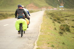Mountain bike rides tibet, china - Stock Image Royalty Free Stock Photo