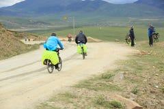 Mountain bike rides tibet, china - Stock Image Stock Image