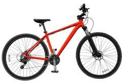 mountain bike rosso sui precedenti isolati bianco Immagine Stock