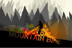 Mountain bike scene vector Stock Photo