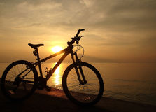 Mountain bike beside seaside Stock Photo