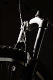 Mountain Bike Shocks. High contrast detail of a high end mountain bike Royalty Free Stock Photography