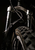 Mountain Bike Shocks. High contrast detail of a high end mountain bike Royalty Free Stock Images