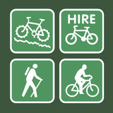 Mountain bike sign. 4 vector outdoor pursuit icons Royalty Free Stock Photo