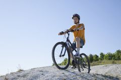 Mountain bike.Sport and healthy life.Extreme sports.Mountain bic. Ycle and man.Life style outdoor extreme sport Royalty Free Stock Photography