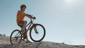 Mountain bike.Sport and healthy life.Extreme sports.Mountain bic. Ycle and man.Life style outdoor extreme sport stock photo