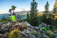 Mountain Bike Team and Mt. Hood Royalty Free Stock Photography