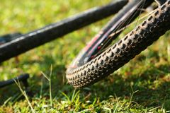 Mountain Bike tire. Thread pattern stock photo