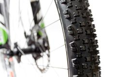 Mountain bike tire closeup Royalty Free Stock Photography
