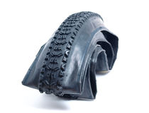 Mountain bike tire deflated Royalty Free Stock Image