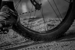 Mountain Bike Tire. Through loose dirt Royalty Free Stock Photo