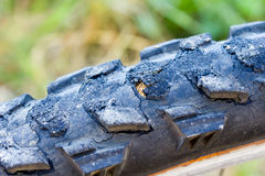 Mountain bike tires damage closeup Stock Image