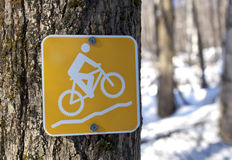 Mountain bike trail marker Stock Photos
