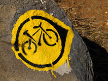 Mountain Bike Trial Sign. In Nature Outdoors Royalty Free Stock Images