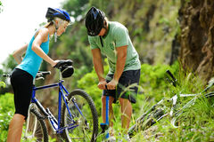 Mountain bike trouble Stock Photography