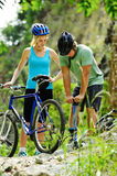 Mountain bike trouble Stock Images