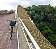 Mountain bike on a wide bridge Royalty Free Stock Photo