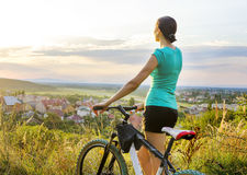 Mountain bike woman Stock Photography