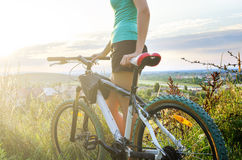 Mountain bike woman Stock Image